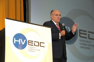 Former New York City Mayor Rudy Giuliani speaks at HVEDC's first Thought Leaders Master Series event on Tuesday. Credit: Tom LaBarbera