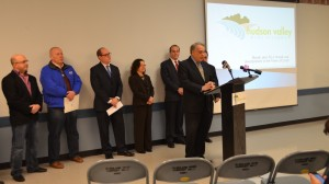 From left to right: Town of Lloyd Deputy Supervisor and Councilman Jeffrey Paladino; Town of Lloyd Supervisor Paul Hansut; Hudson Valley Economic Development Corp. President and CEO Laurence P. Gottlieb; Suzanne Holt, director of the Office of Business Services at Ulster County, Ulster County Executive's Office; Kenneth Stenger of  Stenger, Roberts, Davis & Diamond of Wappingers Falls; Steve Tinkelman of Tinkelman Architecture, PLLC, of Poughkeepsie (partially obscured); and, speaking, Andrew Maxon, project manager.