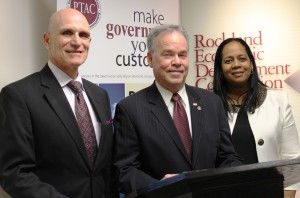 "From L to R: Rockland Economic Development Corporation President/CEO Michael DiTullo, Rockland County Executive Ed Day and REDC Chairwoman Sandra Grannum pose for a photo at the May 6, 2014 press conference announcing the new REDC external marketing campaign ""Address for Success."""