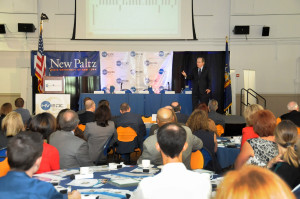 Dr. Paul Harrington of Drexel University addresses a packed room of more than 200 at SUNY New Paltz for HVEDC's second annual State of the Hudson Valley Economy.