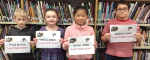 "Black Nights ""Highest Individual"" Orange County reading honors by grade level went to GGM Kindergartener Tyler Marsh, left, first-grader Kayla Jones, second-grader Isabel Yeon and fifth-grader Mario Ginis."