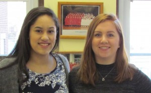 Salutatorian Isabel Miñano, left, and Valedictorian Madeline Doyle will lead the George F. Baker High School Class of 2016 at June ceremonies.