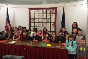"Led by temporarily elected ""Second-Grade Class Supervisor"" Logan Saari-Poznansk, George Grant Mason School second-graders learned about town government and the courts during a recent visit to the Tuxedo Town Hall."