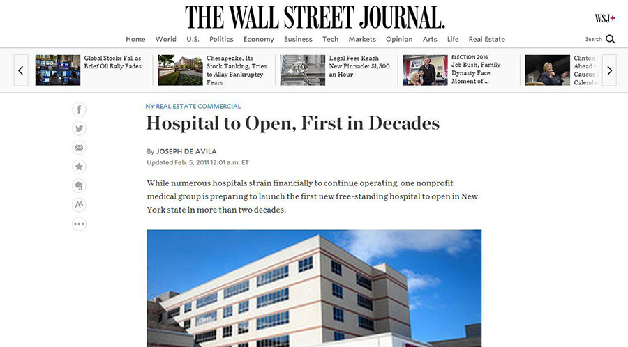 Orange Regional Medical Center in Wall Street Journal