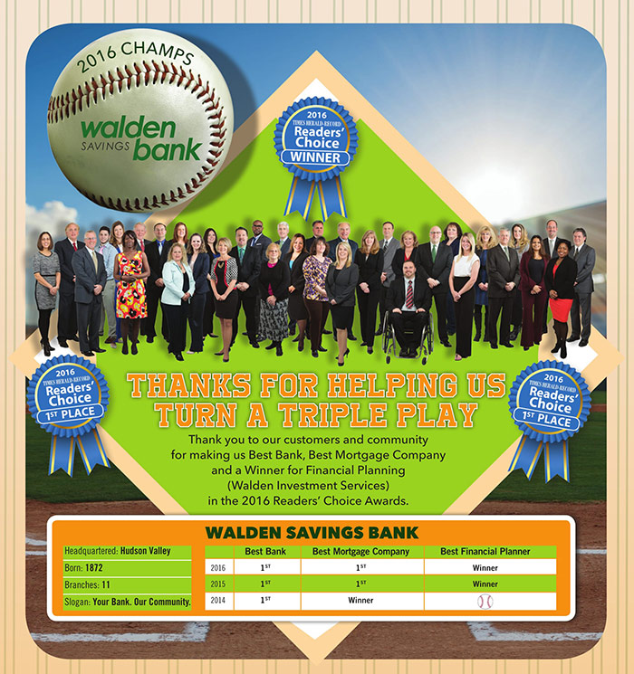 Walden Savings Bank - Triple Play Reader's Choice Awards