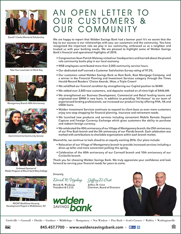Walden Savings Bank - President's Letter